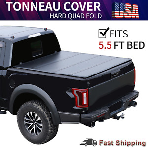 5 5ft Hard Quad Fold Tonneau Cover For 2015 2021 Ford F 150 Truck Bed