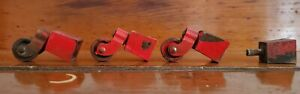 3 Vintage Industrial Small Red Steel Wheel Swivel Casters Furniture Equipment