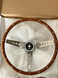 Gt Performance 35 5457 Gt3 Retro Wood Mustang Steering Wheel With Horn Button