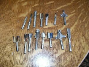Vintage Lot Of 15 Bosch Rockwell Router Shaper Cutter Bit Hss Used Good