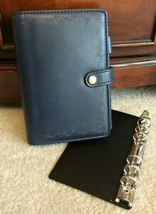 Vtg Blue Faux Leather Day Runner Perennials Personal Snap Planner Binder Inserts