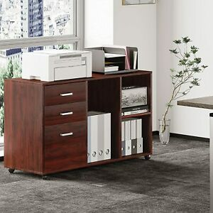 Wood File Cabinet Open Storage Shelves For Home Office Study Bedroom Cherry red