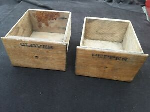 Primitive Antique Spice Box Drawers Only 2 Wooden Pepper Cloves Replacement