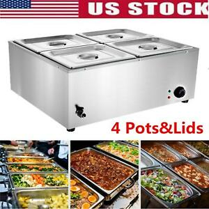 Commercial Food Warmer Bain Marie Steam Table Countertop 4 Pots Soup Station Us