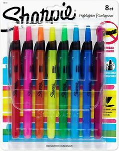 Sharpie Liquid Retractable Assorted Colors Chisel Tip Highlighter Pens 8 Count