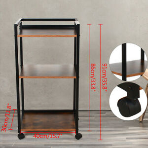 3 tier Wooden Printer Cart Rack Industrial Book Storage Shelves Stand With Wheel