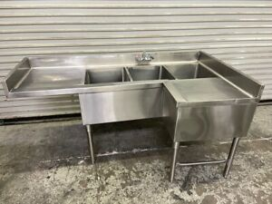 3 Compartment Corner Bar Sink 14x15 Basin Stainless Nsf 65x22 Triple Well 6418