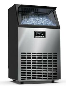 Ice Maker Commercial 100lbs 24h Ice Maker Machine Stainless Steel Under Counter