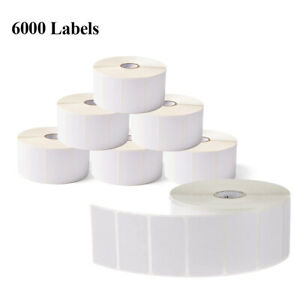 6 Rolls 2 25 X 1 25 Direct Thermal Barcode Labels For Zebra Shipping 1000 roll