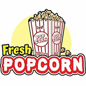 Fresh Popcorn 48 Concession Decal Sign Cart Trailer Stand Sticker Equipment