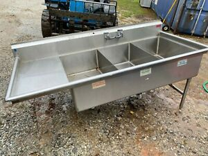 3 Compartment 82 5 Stainless Steel Heavy Duty Commercial Sink Nsf No Legs