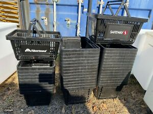 Set Of 38 Grocery Store Retail Black Stackable Shopping Baskets W handles