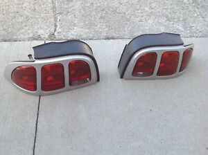 94 98 1998 98 Ford Mustang Tail Lights Driver Passenger Silver Lamps Free Ship