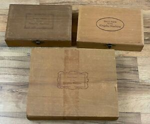 Vintage Kingsley Machine Small Parts Foil Tray Wooden Storage Boxes Lot Of 3