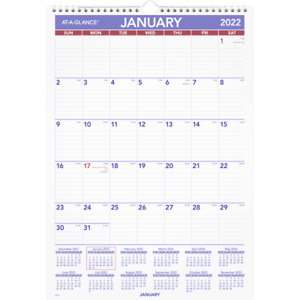 At a glance Monthly Wall Calendar 12 X 17 January To December 2022 Pm22822