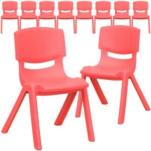 10 Pk Red Plastic Stackable School Chair With 12 Seat Height