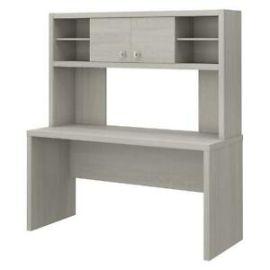 Office By Kathy Ireland Echo 60w Credenza Desk With Hutch Gray Sand