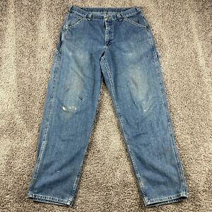 Vintage Lee Dungaree Jeans Mens Size 34 32 Medium Wash Carpenter Relaxed Jeans $26.89