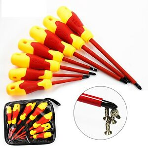 7pcs Insulated Handle Screwdriver Set Magnetic Tips Electrician Slotted Phillips