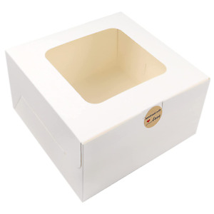 Moretoes 24pcs 10x10x5 Inches Cake Boxes With Window White Paper Bakery Box