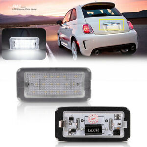 White Led License Number Plate Light Tag Lamp For 07 16 Fiat 500c Abarth Canbus