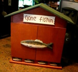 Vintage Unique Home Made Primitive Hanging Wall Cupboard Gone Fishin