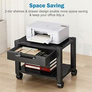 Printer Stand Under Desk Printer Stand With Cable Management Storage Drawers