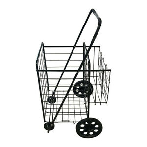 Grocery Utility Shopping Cart Easily Collapsible And Portable W Rolling Wheels