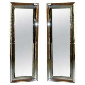 Pair Of Full Length Cushion Framed Wall Mirrors 165 5cm With Curved Frames