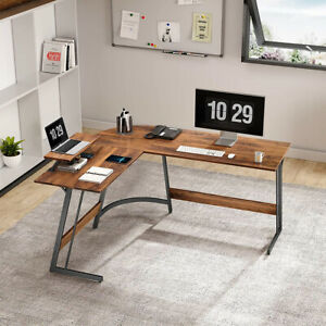 L shaped Computer Desk With Monitor Stand Corner Large Home Office Workstation