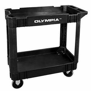 Olympia Tools Commercial Products 2 shelf Utility Cart service Cart Black Erg