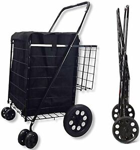Double Basket Folding Grocery Shopping Cart Black With Swivel Wheels Liner