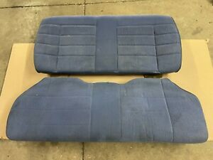 87 89 Ford Mustang Coupe Blue Cloth Rear Seats Upper Lower Factory Notch Oem