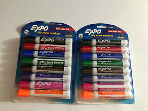 Lot 2 Packs Expo Low odor Dry Erase Markers Assorted Intense Colors 16 count