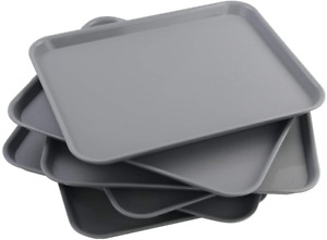 Vcansay Larger Plastic Fast Food Restaurant Serving Trays Grey 6 Packs Gray