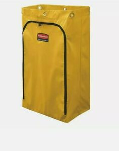 Rubbermaid 24gal Yellow Zippered Vinyl Cleaning Janitor Cart Bag New