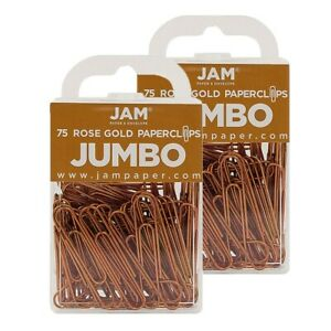 Jam Paper Colored Jumbo Paper Clips Large 2 Inch Rose Gold Paperclips 21832059a