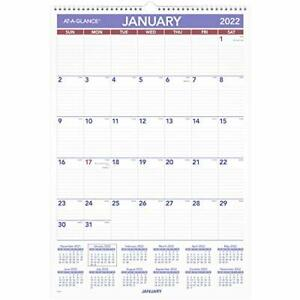 2022 Wall Calendar By At a glance 15 1 2 X 22 3 4 Large Monthly Wirebound P