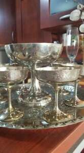 German Engraved Silver Goblet And Chalices On Serving Dish