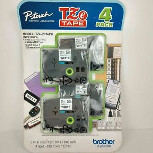 Brother 4 Value Pack P touch Tape tze2314pk Black Print On White Label Nos