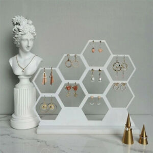 Natural Honeycomb Jewelry Earrings Necklace Storage Rack Holder Jewelry Disp Y3