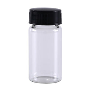 1pc 20ml Small Lab Glass Vials Bottles Clear Containers With Black Screw _u_aa