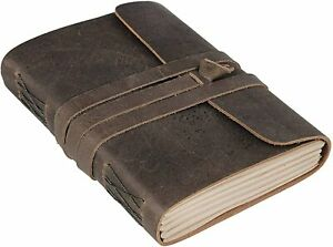 Leather Journal Unlined Paper Handmade Leather Bound Writing Notebook Brown 5x7
