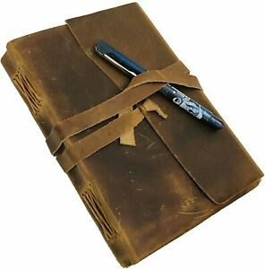 Leather Journal Writing Notebook Antique Handmade Leather Bound Notepad 8 X 6
