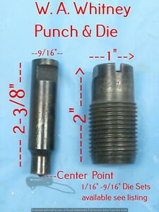 Roper Wa Whitney No 1 Hand Punch Type O Punch Die Set 35 64 Round other Sizes