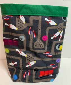Handmade Litter Trash Bag For Car Or Home Featuring Bowling Pins Balls Shoes