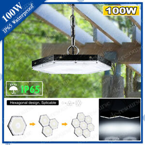 100w Led High Bay low Light Chain Mount Cool White Gym Industrial Lighting Us