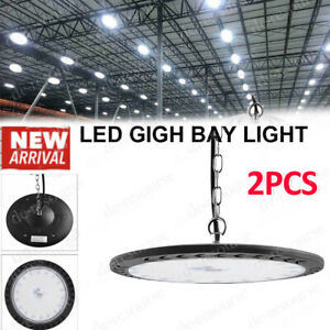 2x 100w Led High Bay Light Warehouse Industrial Facility Lighting Hanging Chain
