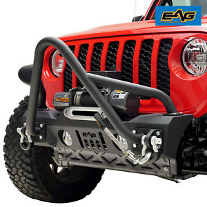 Eag Stubby Front Stinger Bumper With Winch Plate Fit For 20 21 Jeep Gladiator Jt