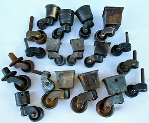 19 Antique Round Square Cup Swivel Casters Chairs Furniture Brass Iron Vintage